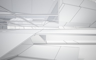 Abstract white interior highlights future with glass. Polygon drawing . Architectural background. 3D illustration and rendering