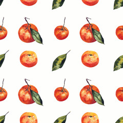 Watercolor seamless pattern with mandarins and leaves