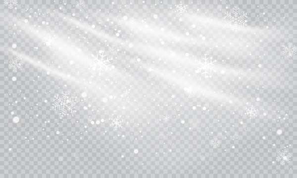 Snow and wind on a transparent background. White gradient decorative element, vector illustration.Winter and snow with fog.