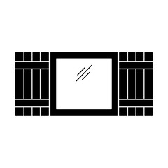 Black & white illustration of old window shutter. Vector flat icon of wooden vintage outdoor jalousie. Isolated object