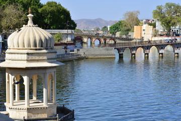 Lake in Udaipur, India, Rajasthan, April 2016