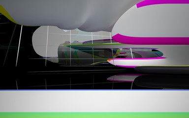 Abstract dynamic interior with white smooth colored gradient objects and black room . 3D illustration and rendering