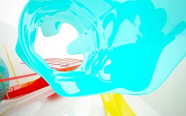 abstract architectural interior with colored smooth glass sculpture. 3D illustration and rendering