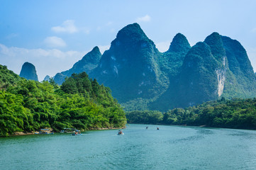 Beautiful mountains and river scenery with blue sky, Yangshuo, China.