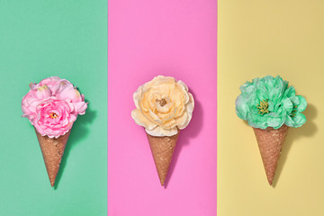 Ice Cream Cone Set with Flowers. Trendy fashion Style. Spring Summer Floral concept. Creative...