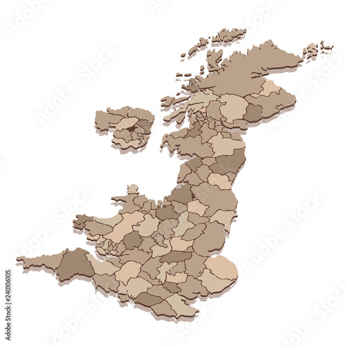 Map Of England Provinces.Vector Isometric Map Of United Kingdom With Provinces Stock Image