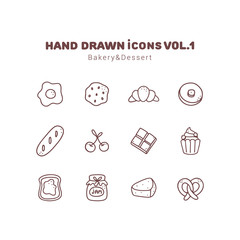 Bakery and Dessert hand drawn outline icons