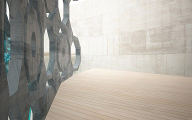 Abstract interior of concrete, wood and blue glass. Architectural background. 3D illustration and rendering