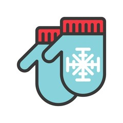 Mittens vector, Chirstmas related filled style icon editable outline icon