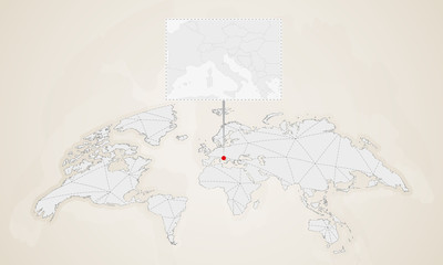 Vatican City On World Map.Map Of Vatican City With Neighbor Countries Pinned On World Map
