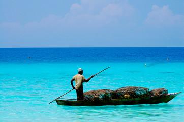 Spoed Fotobehang Zanzibar Fisherman with Traps - Zanzibar - Tanzania