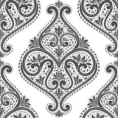 Black and white floral seamless pattern. Vintage vector, paisley elements. Traditional,Turkish, Indian motifs. Great for fabric and textile, wallpaper, packaging or any desired idea.