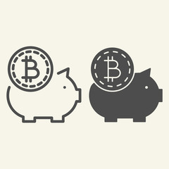 Saving crypto money line and glyph icon. Bitcoin piggy bank vector illustration isolated on white. Crypto coin and pig outline style design, designed for web and app. Eps 10.