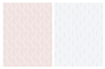 Hand Drawn Abstract Twigs Vector Patterns. Light Pale Pink and Delicate Light Blue Color Design. Floral Repeatable Patterns. Pastel Colors. Light Pale Pink and Light Blue Background.