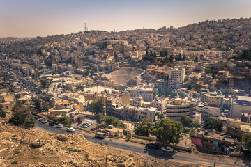 Amman - September 29, 2018: View of central Amman from the Citadel viewpoint, Jordan