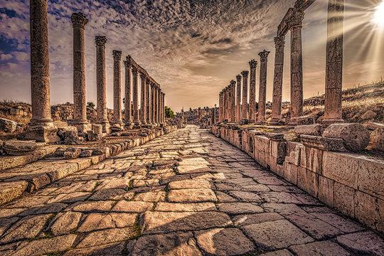 Jerash - September 29, 2018: Ancient Roman ruins of Jerash, Jordan