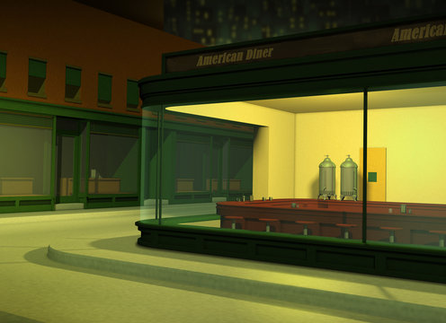 Empty American Diner at Night
