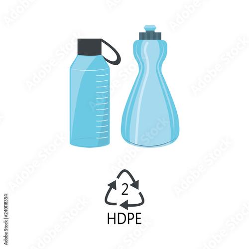 HDPE 2 plastic type - blue high-density polyethylene bottles with