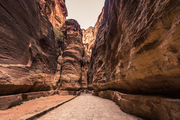 Petra - October 01, 2018: Canyon leading to the ancient city of Petra, Wonder of the World, Jordan