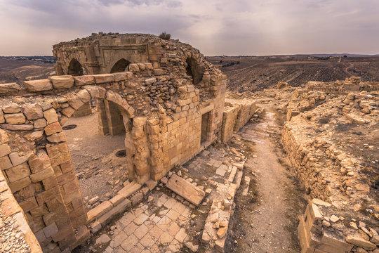 Jordan - October 01, 2018: Ruins of Ajloun castle in Jordan