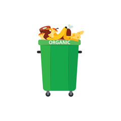 Recycle trash bin for organic garbage in flat style isolated on white background. Vector illustration of green dumpster full of food waste for separating and sorting rubbish concept.