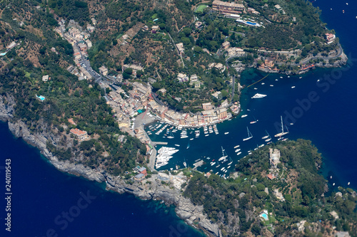Portofino Italy aerial view from airplane