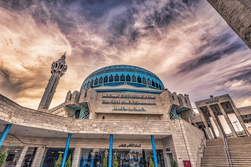 Amman - September 30, 2018: Mosque of King Abdullah I in the center of Amman, Jordan