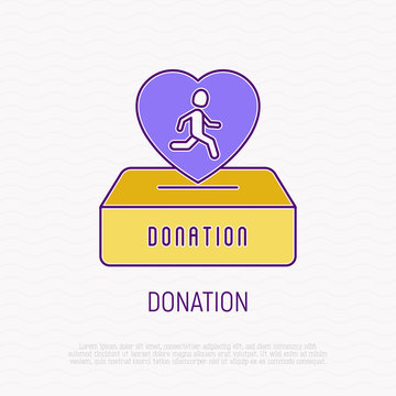 Donation from marathon thin line icon. Heart with runner falls in donation box. Symbol of charity. Modern vector illustration.
