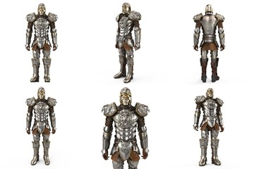 A lion full body armor suit isolated against white background. 3d illustration