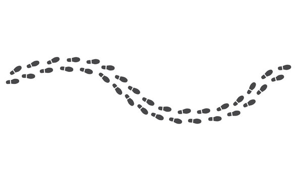 Black human footprints pathway isolated on white background - route of monochrome silhouette of shoe sole track in vector illustration. Trailway of walking person - boots trace of man.