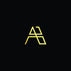 Initial letter AB BA minimalist art logo, gold color on black background.
