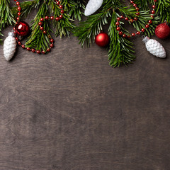 Christmas and new year's background with Christmas brunch and Christmas toys at wood background