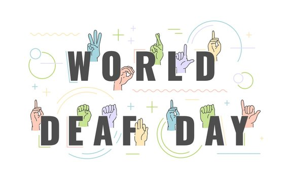 Vector world deaf dat holiday with deaf-mute alphabet with hand gestures set. Hand drawn mute language, communication for disabled people. Finger, palm and fist signs collection. Isolated illustration