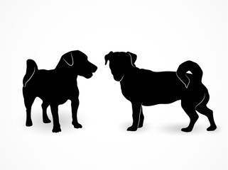 Silhouette of two small standing dogs Jack Russell Terrier. A front and side view of the pets isolated on white background.
