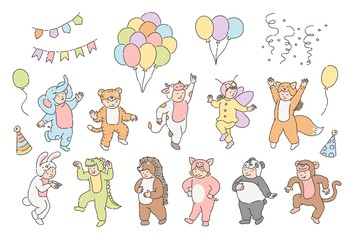 Vector illustration set of cute kids in festive animal suits with hot air balloons, party cone hats and flags isolated on white background - hand drawn design element of children holiday.