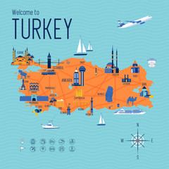 Turkey cartoon travel map vector illustration with landmarks and cities, roadmap.. Postcard concept with the most interesting place for visit. Business travel and tourism concept clipart, icons.