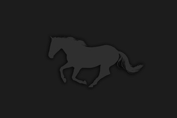 Abstract Black White Horse Illustration