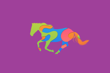 Abstract Colorful Horse Illustration