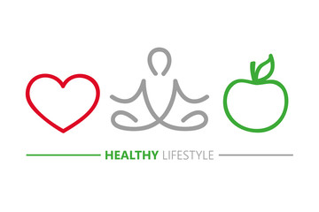 healthy lifestyle concept heart yoga and green apple vector illustration EPS10