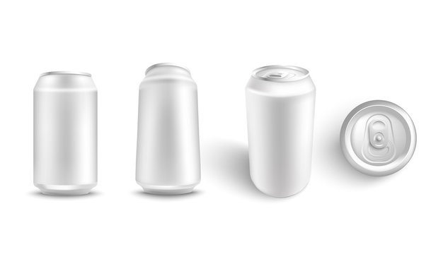 Vector illustration set of white blank aluminum can mockup from different angles for alcohol or fizzy drink branding and advertising in realistic 3d style - isolated metallic pack for beer or soda.