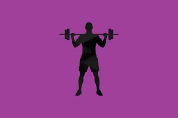 Abstract Polygon Black Fitness Man Illustration