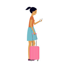 Young woman in summer clothing with purple travel suitcase, plastic bag holding smartphone looking at screen smiling. Happy female character, traveller, tourist going to vacation. Vector illustration