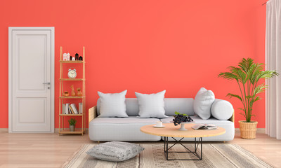 Sofa and table in orange living room, 3D rendering