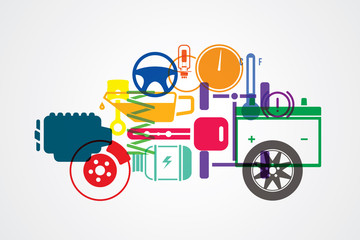 Vector design background for car mechanic service and repair.