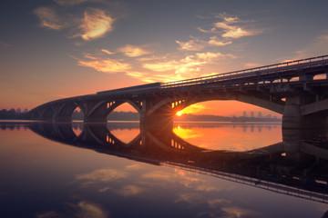 Metro bridge in the morning. Kiev; Ukraine