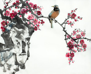 plum blossom branch and bird