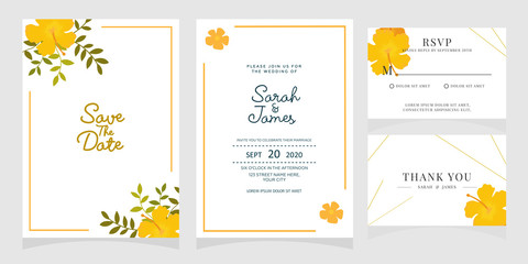 wedding invitation card template with copper color flower floral background. wedding invitation. Save the date. Vector illustration.