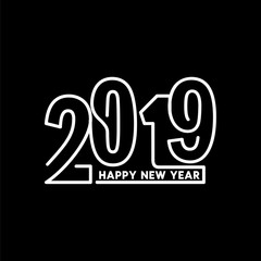 Happy New Year 2019 Text Design Patter