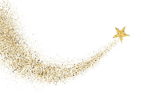 Star dust trail with glitter sparkling particles on white background. Gold glittering space comet tail. Cosmic wave. Golden shining star with dust tail. Festive backdrop. Vector illustration
