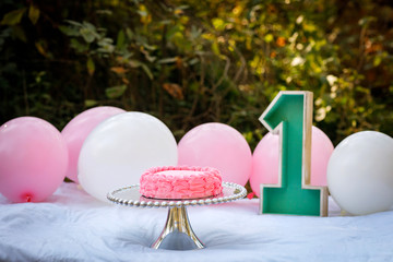 First Birthday Decorations with Balloons and the Number One